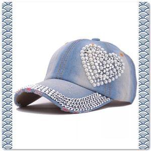 Distressed Rhinestone Pearl Baseball Cap Hat